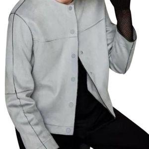 Zara Light Blue Suede Snap Button Jacket